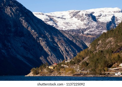 View at The hardangerfjord near the Norwegian village Eidfjord