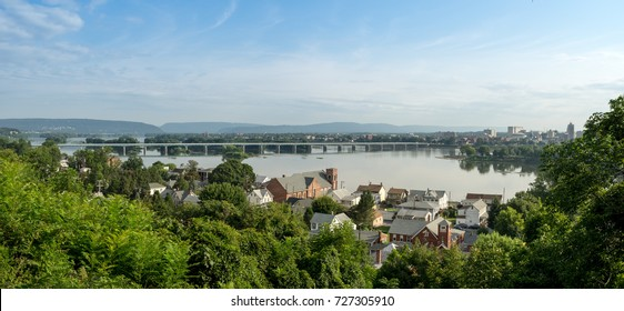 A view of the Harrisburg capital skyline and river bridge.