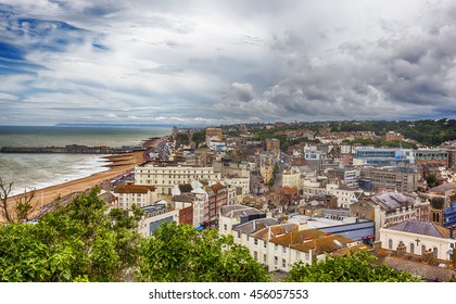 view of Hastings Town Center with the Pier,  East Sussex, England