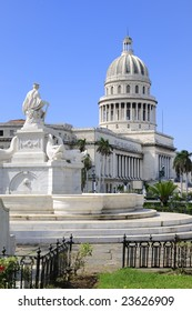 A view of Havana capitoly dome and fountain