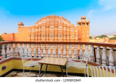 View at Hawa Mahal palace (Palace of the Winds) from the local caffee, Jaipur, Rajasthan, India