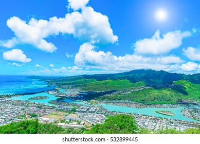 View of Hawaii Kai, a largely residential area located in the City & County of Honolulu, seen from the top of Koko Head near Honolulu - Hawaii