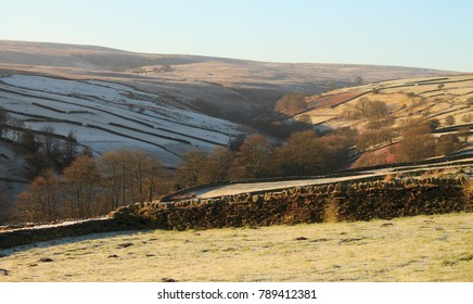A view of Haworth Moor from Stanbury village on a frosty winter morning