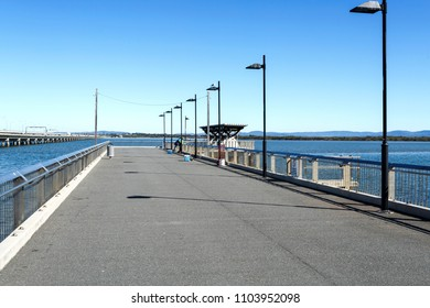 View of the Hays Inlet Fishing and Recreation Platform located at the Clontarf end of the now demolished Hornibrook Bridge, in the Redcliffe Peninsula, Australia