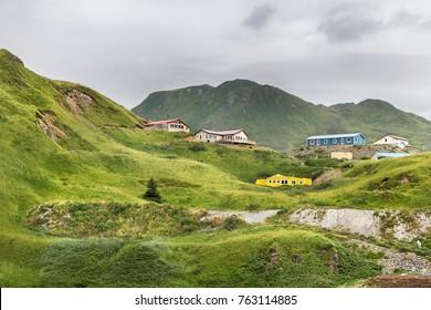 View of the Haystack Hill, Dutch Harbor, Unalaska, Alaska, USA.