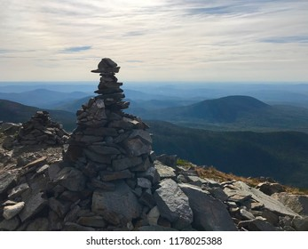 View from he top of Mt. Sugarloaf with a view of Mt. Spaulding and Mt. Abraham in Maine