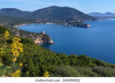 View from the headland of Capo Caccia on the northwest coast of Sardinia in Sassari Province, Italy.
