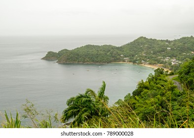View from a headland looking East across Castara Bay on the Caribbean coast of Tobago, Trinidad and Tobago, on an overcast morning in January.