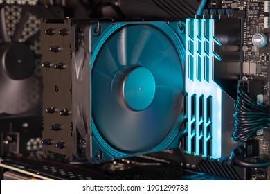 View of Heatsink Fan For CPU on Computer Motherboard