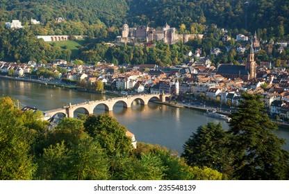 View of Heidelberg old town, Germany - Old Bridge Heidelberg, Konigstuhl Castle.