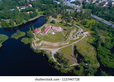 View from the height of the ancient Korela fortress on a summer day. Priozersk, Russia