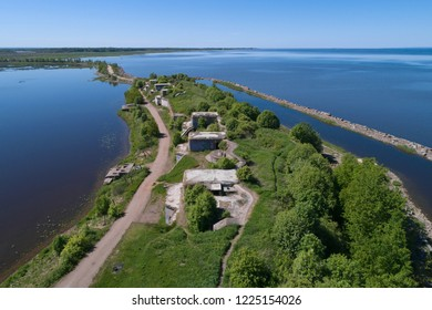 A view from the height of the artillery positions of the 1st Northern Battery (1st Northern Fort) on a sunny May day. Kronstadt, St. Petersburg