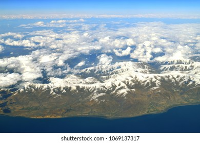 View from height of Lake Sevan and Caucasus Mountains
