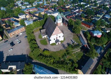 A view from the height of the medieval Lutheran cathedral on a sunny summer day. Porvoo, Finland