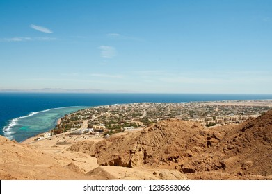 View from height on Dahab town and Red sea. South Sinai.