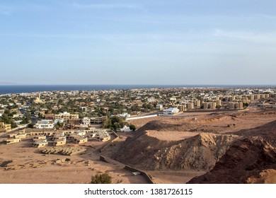 View from height on Dahab town and Red sea. Egypt. South Sinai. Dahab