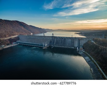 View from height on hydroelectric power station in Russia, Siberia, Krasnoyarsk, a decline, shooting from air