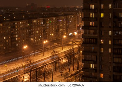 View from a height on a street at night in sleeping quarters