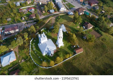A view from the height of the Transfiguration Cathedral on a September afternoon (aerial survey). Sudislavl, Russia