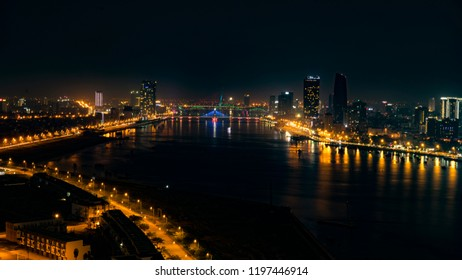 A view from the heights of the night city of Da Nang in Vietnam.