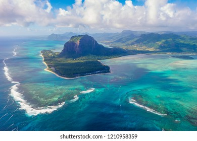 View from helicopter of the famous underwater waterfall in Mauritius.