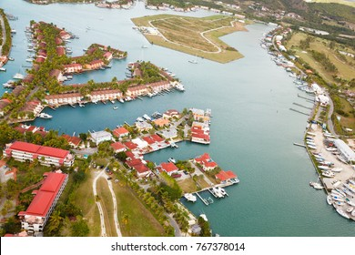 View from a helicopter to Jolly Harbor in Antigua.