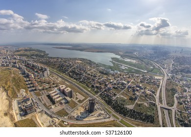 The view from the helicopter of Kucukcekmece lake. Istanbul, Turkey