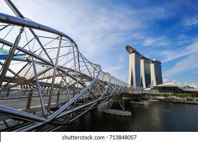 view of the Helix Bridge, urban landscape of Singapore