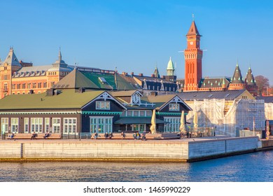 View of Helsingborg harbour and City Hall