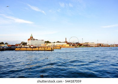 View of Helsinki ferry pier from the Market Square to Suomenlinna in summer, Finland