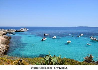 View of hemerald sea from harbor of Levanzo, Egadi Islands, Sicily, Italy