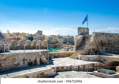 View of Heraklion harbour from the old venetian fort Koule, Crete, Greece