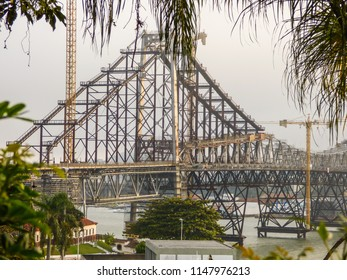 A view of Hercilio Luz Bridge, a landmark of the city currently deactived, undergoing repairs - Florianopolis, Brazil