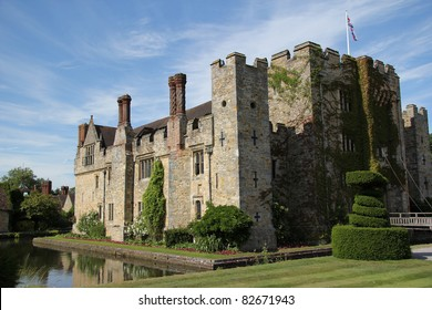 View of Hever Castle against a blue summer sky