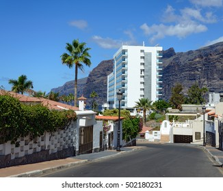 View from Hibisco Street in Los Gigantes toward Gigantes cliffs, Tenerife Island, Canary Islands, Spain.