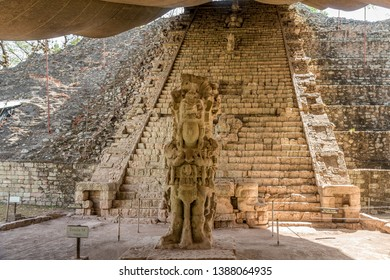 View at the Hieroglyphic Stairway and Stela M in Archaeological Site of Copan - Honduras