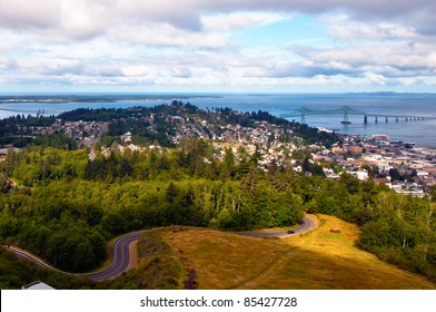 View from up high of Astoria, Oregon and the Columbia River
