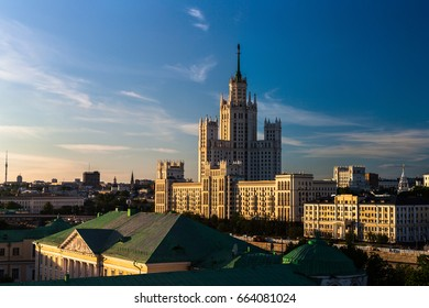 View of the high building in Moscow at sunset