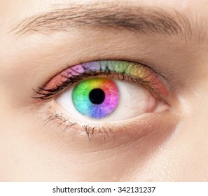 View of a high definition Rainbow eye concept