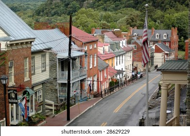 The view from up high of Harper's Ferry, West Virginia's main drag.