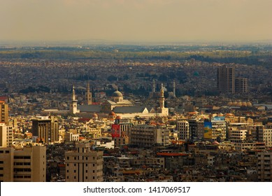 View from high to new and old Damascus. From Mount Qasioun you can see the whole city. Syria before the war. Damascus, Syria, Middle East. November 22, 2007.