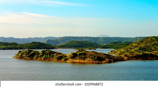 View from High Point on Nature Reserve Albufera des Grau Outdoors. Menorca, Balearic Islands, Spain