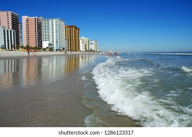 View of high rise development along the shoreline in Myrtle Beach South Carolina.