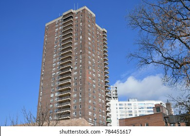 View of a High Rise Tower Block Apartment Building