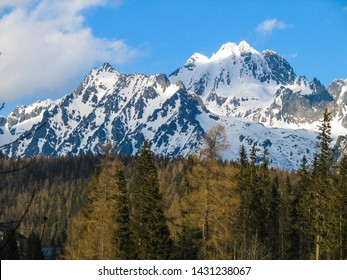 View of High Tatras mountains in winter in High Tatras, Slovakia.