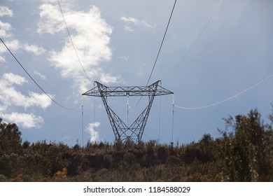 View of high voltage electricty transmission tower and lines, Tasmania
