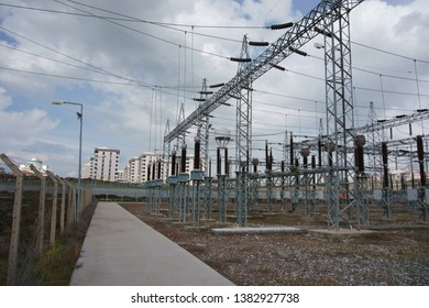 View of high voltage switchyard