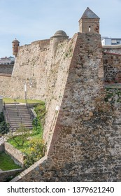 View of the high walls and watchtowers in the historic city of Ceuta, Spain