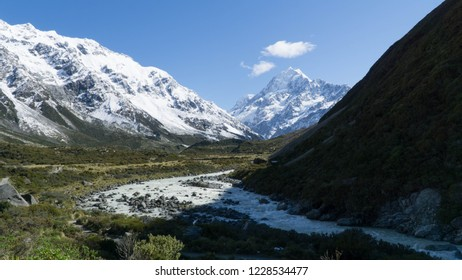 View of the highest peak of New Zealand - Mt. Cook, Hooker Valley Track
