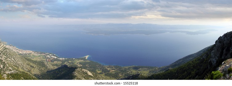 View from the highest peek on the Brac island, the Vid's mountain (Vidova gora), on the city of Bol and island of Hvar. Bol is one of the most famous tourist places on the Croatian Adriatic coast.